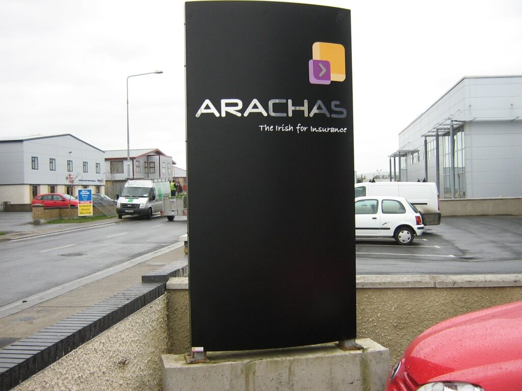 A totem sign displayed in a busy industrial estate in Ireland