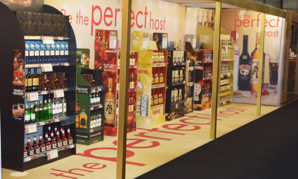 fabric printing exhibition stand for diageo that replicates an off licence with only diageo products