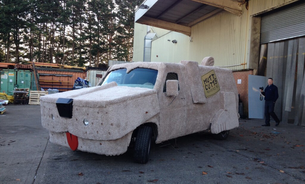 A Van wrapped to replicate the dumb and dumber mutt cuts van for the movie premiere