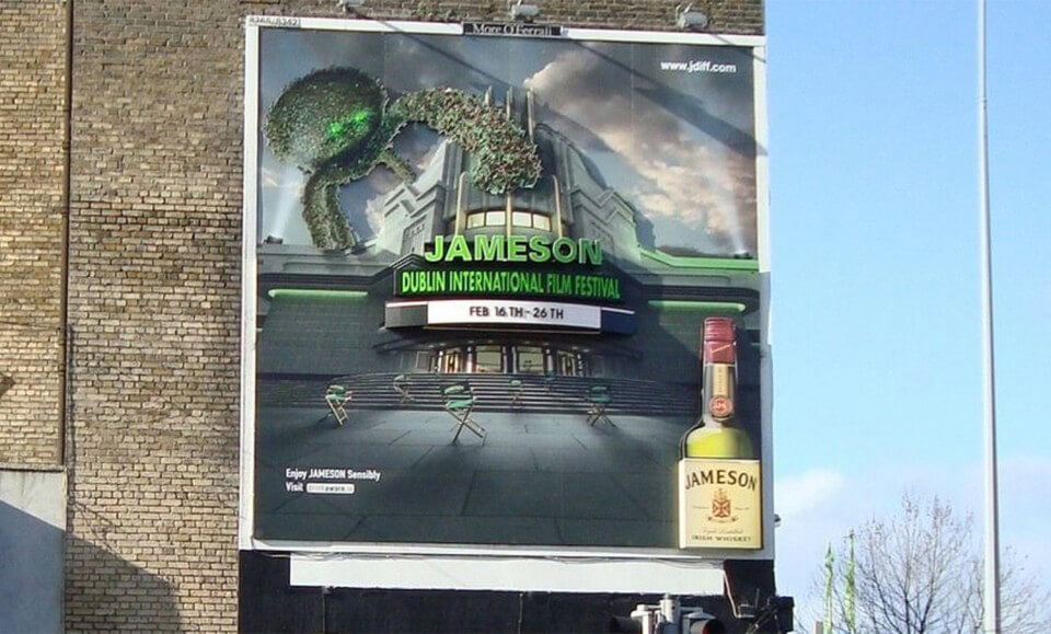 bespoke solution created for Jameson film festival which displays 3d text and a cinema image with a 3d bottle of jameson