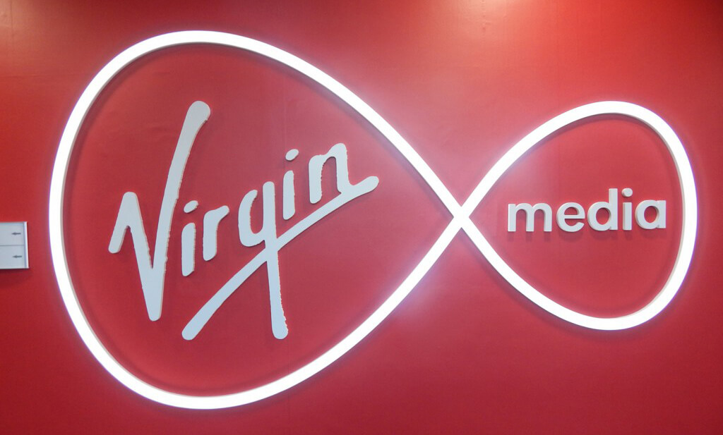 bespoke sign created or Virgin Media which displays the virgin media logo with the circular part illuminated