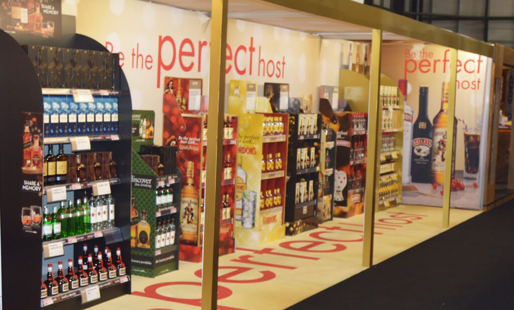 An exhibitions display for diageo created just using fabric display solutions