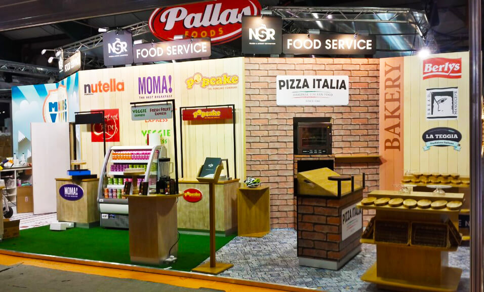 An exhibitions display featuring different food brands