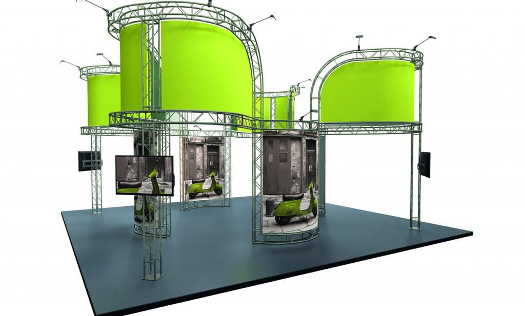 Modular exhibitions display with no walls featuring large curved fabric graphic overhead and rectangular fabric displaying scooters