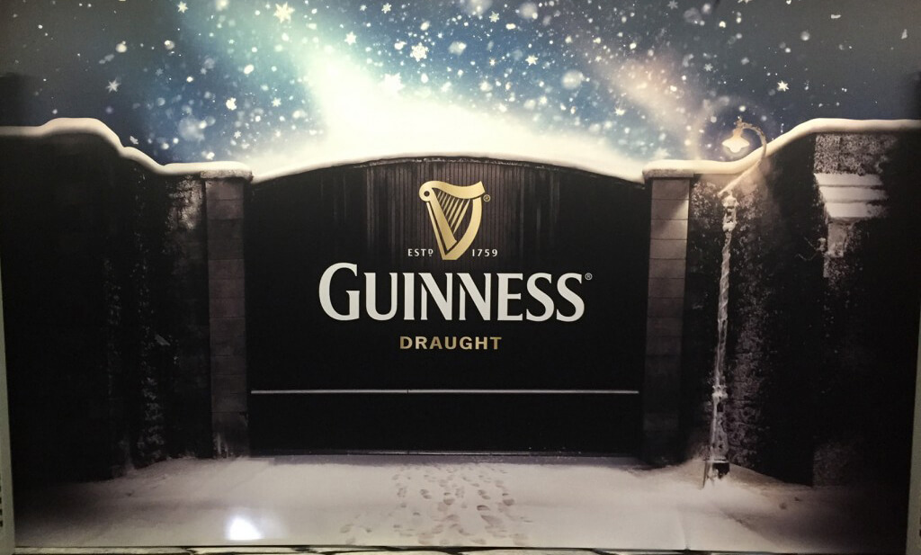 Fabric printing exhibition stand created for guinness that depicts the guinness brewery gate