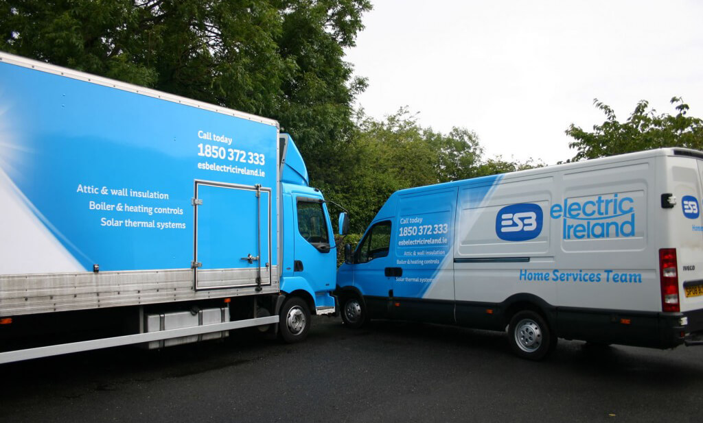 Vehicle Graphics wrapped onto a van and a truck for the electric ireland home services team